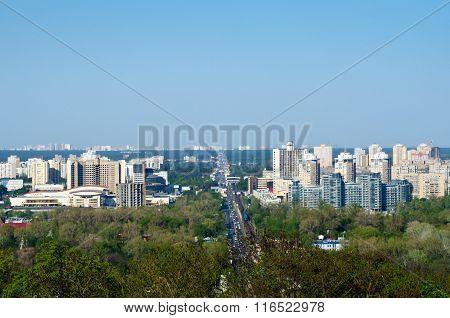 Landscape Of The City Of Kiev Bird's Eye View