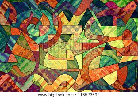 A Cubist Abstract Background with Swirling Lines and Shapes