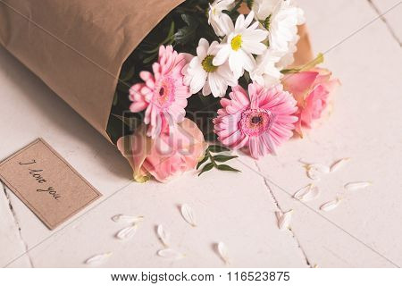 Love Card And Flowers