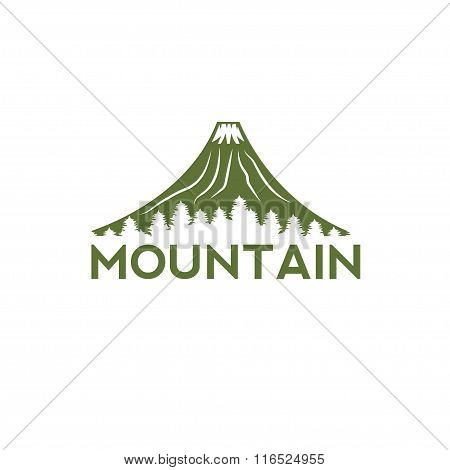 Abstract Volcano With Pines Vector Design Template