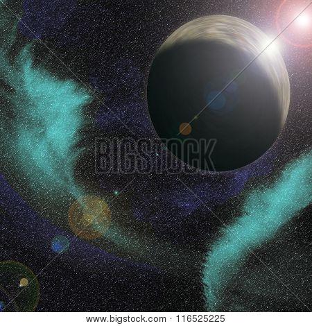 Grey Planet with Blue Nebula