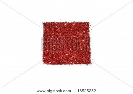 Abstract square of red glitter sparkle on white background for your design