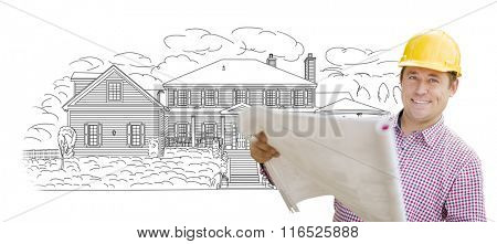 Smiling Contractor Holding Blueprints Over Custom Home Drawing