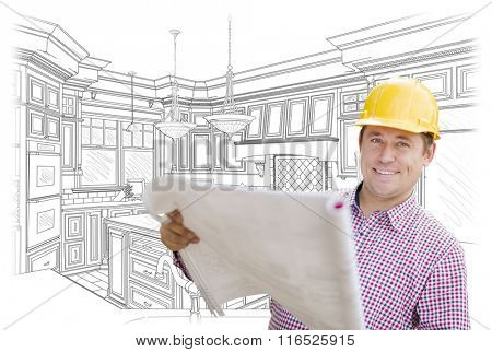 Smiling Contractor Holding Blueprints Over Custom Kitchen Drawing.