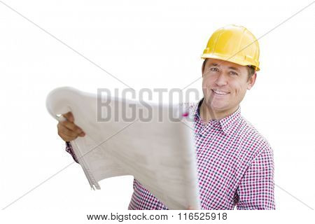 Smiling Contractor in Hardhat Holding Blueprints Isolated On A White Background.