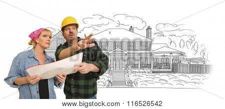 Contractor Talking with Customer Over Custom Home Drawing.