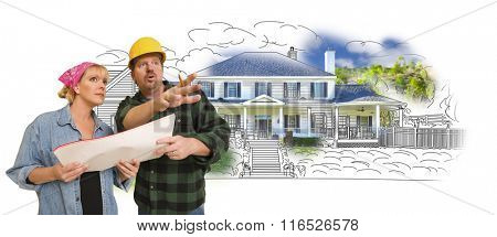 Contractor Talking with Customer Over Custom Home Drawing and Photo Combination.