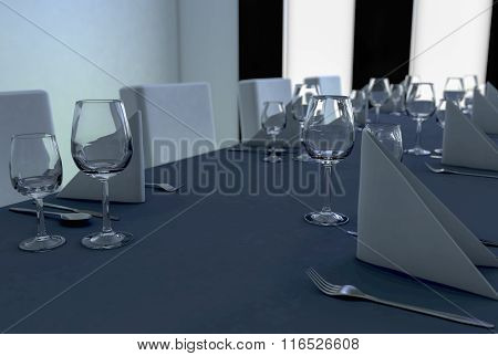 a laid table