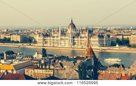 view from Fishermen Bastion on National Hungarian Parliament