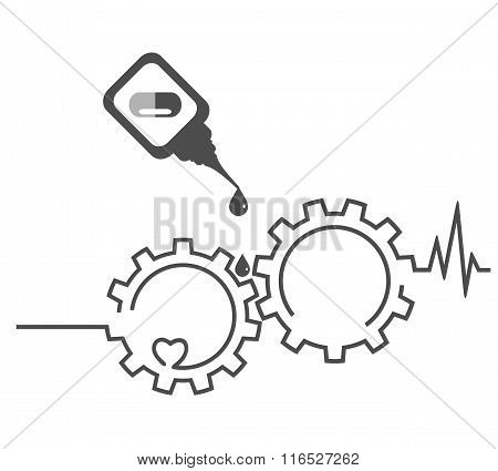 Health Concept. Heart, Medicament, Cardiogram, Gear