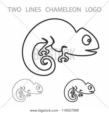 Chameleon. Two Lines Logo. Minimalism Style Logotype. Vector