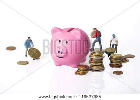 Piggy Bank And Euro Coins