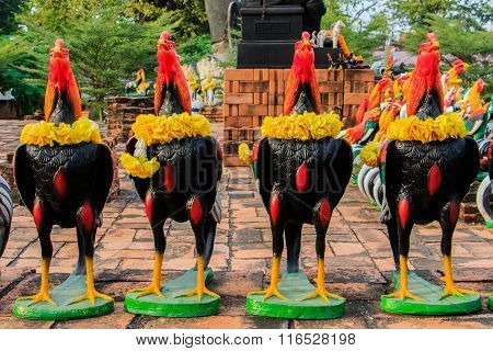 Cock Fighting dolls as votive offerings to King Naresuan in Thammikarat Temple in Ayutthaya, Thailan