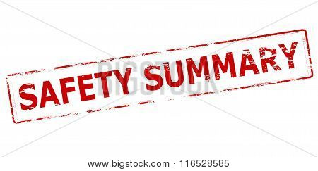 Rubber stamp with text safety summary inside vector illustration