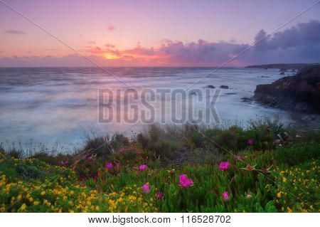 Magic sunset on the Algarve. Portugal Algarve.