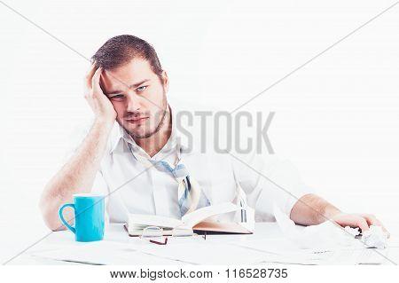 Businessman working hard