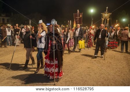 El ROCIO ANDALUCIA SPAIN - MAY 24, 2015: Night convergence of all romerias to the solemn prayer and celebration. It is one of the most famous pilgrimage of Spain. This pilgrimage passes from the 15th century.