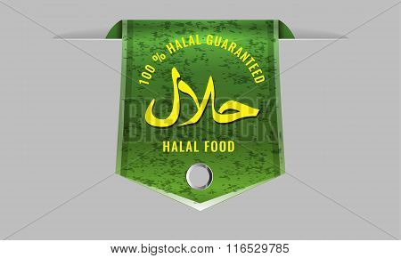 Halal Products Certified Seal sign with sleek web ribbon banner