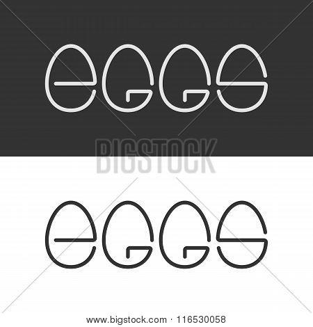 Egg Shape Text Logo. Minimalism Style Logotype. Vector