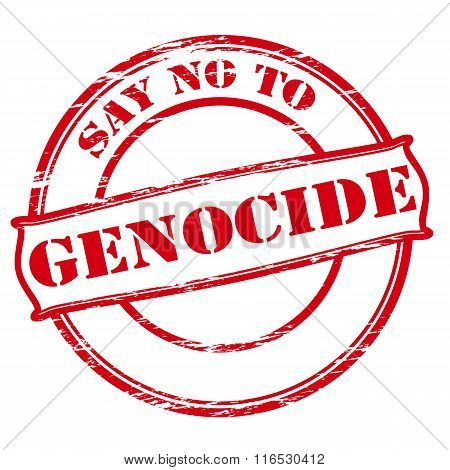 Rubber stamp with text say no to genocide inside vector illustration