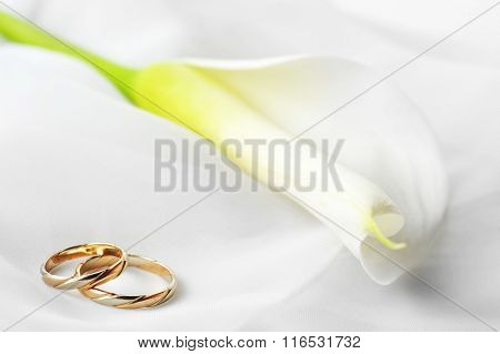 White  Fabric And Wedding Rings