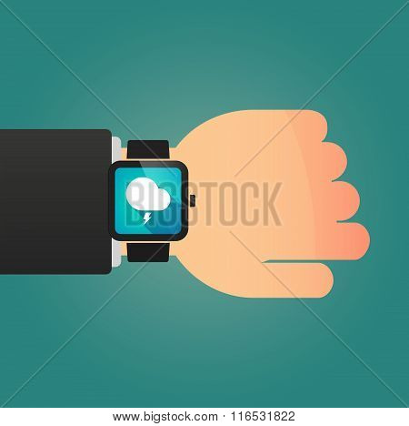 Isolated Smart Watch Icon With A Stormy Cloud