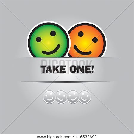 Take One Smile. Funny Greeting Card In Vector Format