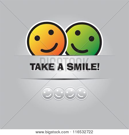 Two Smiling Emoticons And Place For Your Text. Funny Greeting Card In Vector Format