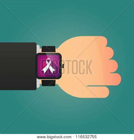 Isolated Smart Watch Icon With An Awareness Ribbon