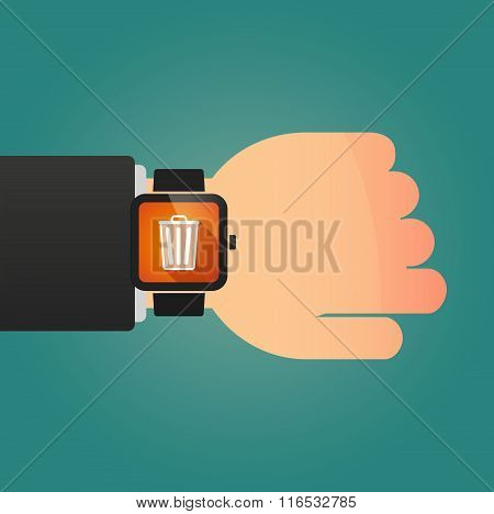 Isolated Smart Watch Icon With A Trash Can