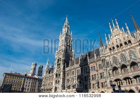 Detail Of Munich Town Hall In The Sunlight