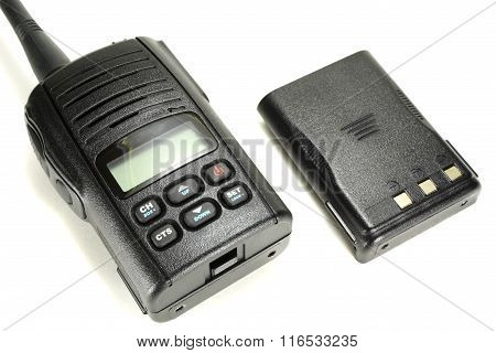 Portable Walkie-talkie With Back-up Battery Isolated On A White Background