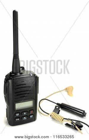 Portable Walkie-talkie With Headset Isolated On A White Background