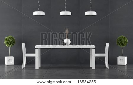 Black Dining Room With Wall Blackboard Paneling