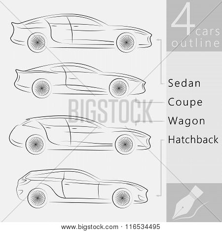 Concept Vehicle Silhouette. Variants Of Car Body Vector Outlines