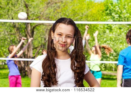 Volleyball portrait and kids playing on background