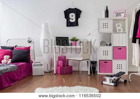 Pink And White Room For Sporty Girl