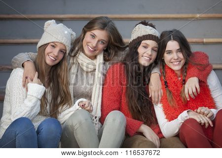 fashion winter teens with beautiful smiles and teeth
