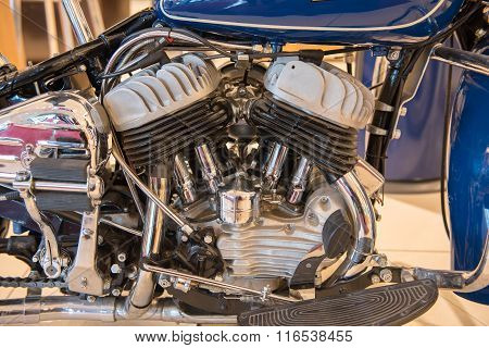 V-2 Engine Of A Historic Motorcycle