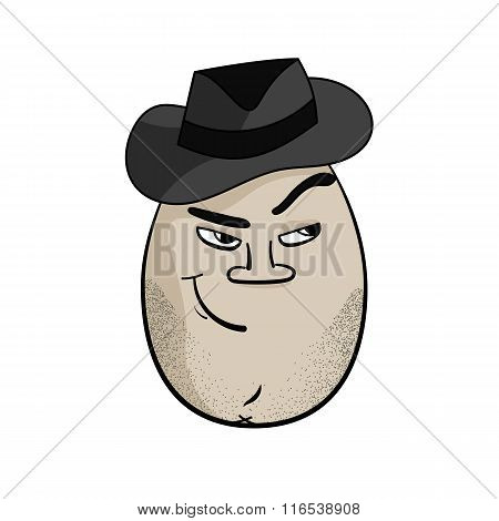 Cartoon Egg Face Character