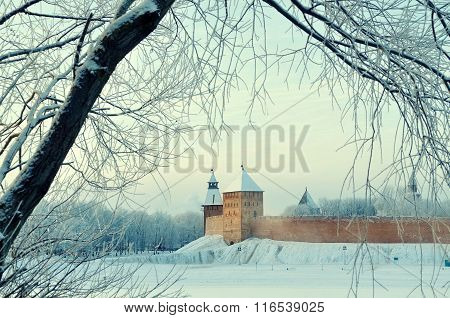 Novgorod Kremlin Fortress In Veliky Novgorod, Russia - Architectural Winter City View In Vintage Ton