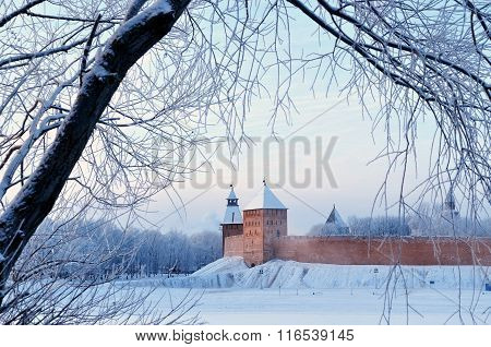 Novgorod Kremlin Fortress In Veliky Novgorod, Russia - Architectural Winter City View