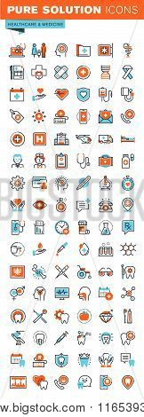 Thin line web icons for medical services and support, dental care, medicines and equipment