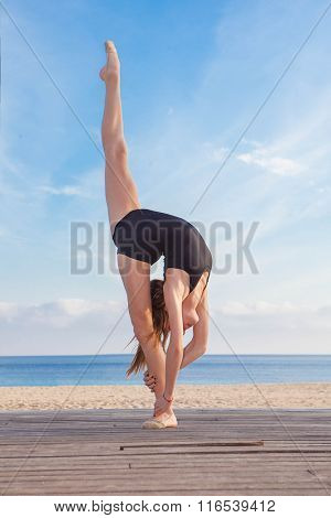 dancer or gymnast doing stretch exercise