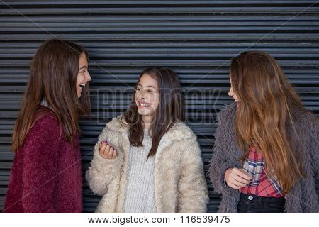 laughter,group of young girls laughing