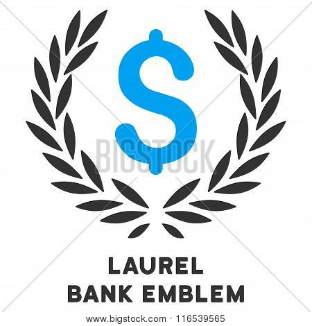 Laurel Bank Emblem Vector Icon With Caption