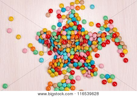 Candy Scattered In The Form Of Stars