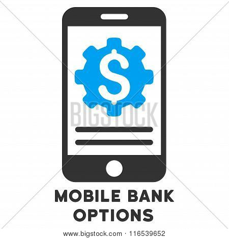 Mobile Bank Options Vector Icon With Caption