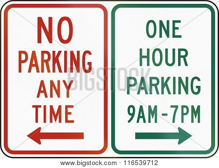 United States Mutcd Regulatory Road Sign - No Parking And On Hour Parking