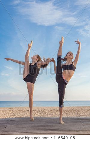 gymnasts exercising sports pose